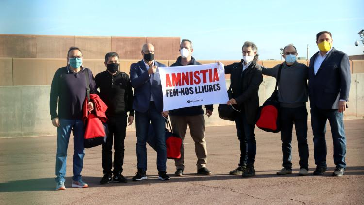 Els presos polítics, a la sortida de Lledoners. Agència Catalana de Notícies